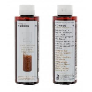 Korres шампунь для тонких ломких волос протеины риса и липа 250 мл